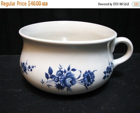 Valentine SALE Lord Nelson Pottery Child's Chamber Pot Blue and White English Pottery