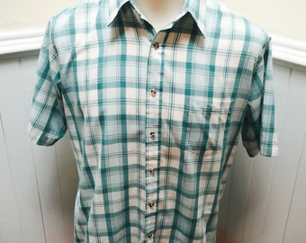 Vintage 1980s Aqua Blue& White Plaid Short Sleeve Button Down Shirt- L