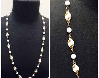 Vintage 1970s White Glass Bead & Gold Tone Long Necklace