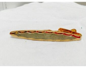 Vintage 1970s Gold Tone Oval Tie Clip