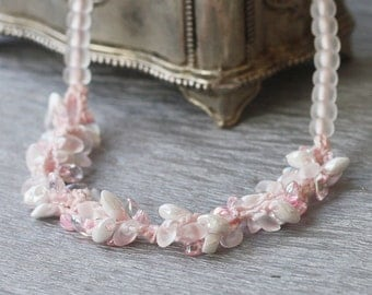 Pink beaded necklace Spring fashion Crochet jewelry Romantic Feminine Gift for her Handmade Boho chic Bohemian jewelry Wedding