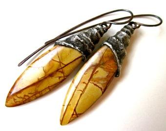 40 Miles of Rough Road - dark primitive golden sandy tan brown Red Creek jasper stone slab & spiral soldered black metal bead cap earrings