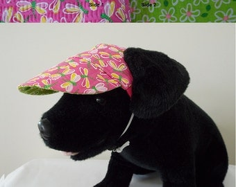 Dog visor, reversible (two fabrics), comfortable and colorful. V2   Can be personalized.