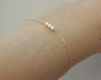 Tiny three pearl bracelet, Sterling Silver, Gold Fill, Rose Gold Fill, Thin bracelet, bridesmaids, flower girl, bridal, Tiny little pearls