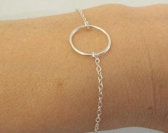 Sterling Silver Karma Bracelet, Silver Circle Bracelet, Simple Jewelry Minimalist , Silver Jewelry, Simple Eternity Bracelet