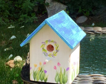 Weathered Turquoise & Blue Decorative Birdhouse