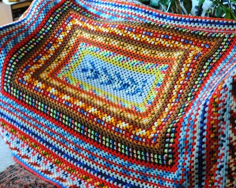 """Large afghan quilt crochet colorful blanket FULL size beauty! 104"""" x 92"""""""