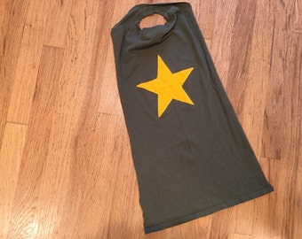 Green Kids Super Hero Cape with Yellow Star