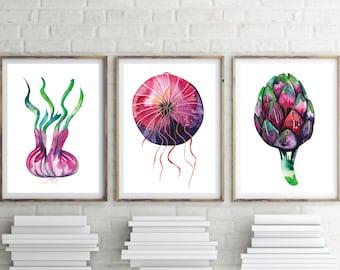 Vegetable prints, artichoke, Onion  and garlic - Watercolour prints