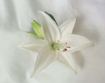 Wedding Natural Touch White Day Lily Tiger Lily Flower Hair Clip Fascinator