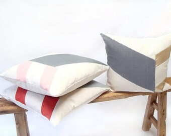 Modern Pillow/Cream/Grey/Champagne Gold Leather/Chevron/Handcrafted/Custom Pillow/Handmade/Eclectic/ZigZag Studio Design