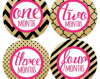 FREE GIFT, Baby Month Stickers, Baby Girl, Pink, Black, Gold, Glitter, Monthly Baby Stickers Girl, Baby Month Stickers, Gold Glitter