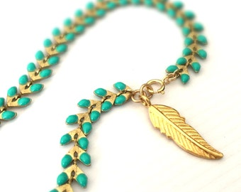 Turquoise Bracelet - Turquoise Jewelry - Gold Jewellery - Feather Charm - Trendy