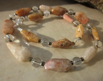 pink Moss Agate and Rock Crystal NECKLACE