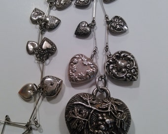 Sterling Puffy Heart Charm Necklace