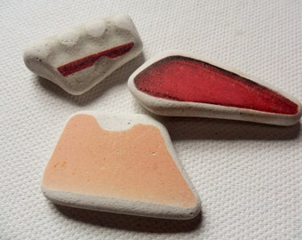 3 pretty pink & white sea pottery - Lovely English beach find pieces