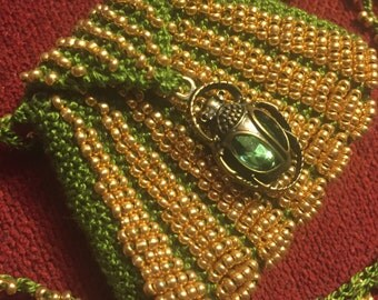 Green and gold hand knit beaded amulet bag w/scarab charm