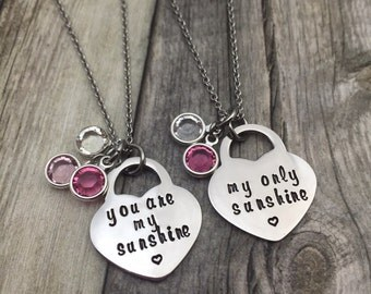 You are my sunshine, my only sunshine , personalized birthstone necklace, hand stamped, gift