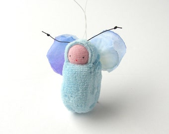 Pastel blue fairy  ornament flower fairy party favor waldorf doll baby shower gift FB1