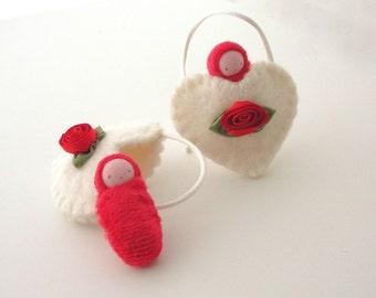 Heart ornament pocket doll valentine sweetheart waldorf decor white heart
