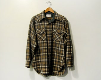 Men's Pendleton Long Sleeve Wool Board Shirt - Large Western Snaps