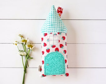 Tooth Fairy Pillow, House Pillow, Strawberry, Teal, Girls Children Toy Secret Door Keepsake, Special Edition, Room Decor, Tooth Fairy House