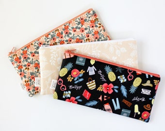 Zipper Pouch, Pencil Pouch, Pencil Case, Rifle Paper Co Fabric, Peach Coral Bag, College, Kids, School Supplies, Teens, Women, Organize