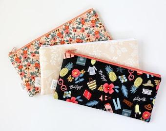 Rifle Paper Co Fabric, Zipper Pouch, Pencil Pouch, Pencil Case,  Peach Coral Bag, College, School Supplies, Teens, Women, Organize, Gift