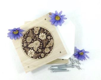 Flower Press - Wood Pyrography - Floral Design Plant Press