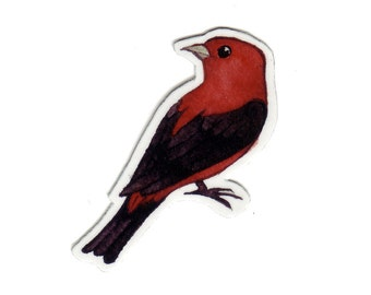 Scarlet Tanager Bird Magnet / Nature Art / Refrigerator Magnet / Office Magnet / Party Favor / Small Gift