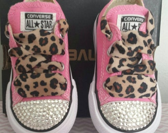Pink Converse, Baby Bling, Toddler Girls, Leopard Laces, Bling Crystals, Sizes 2 -7, Princess Shoes