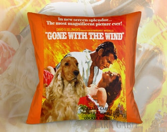 English Cocker Spaniel Art Pillow Case Throw Pillow - Gone with the Wind Movie Poster  Perfect DOG LOVER Gift for Her Gift for Him