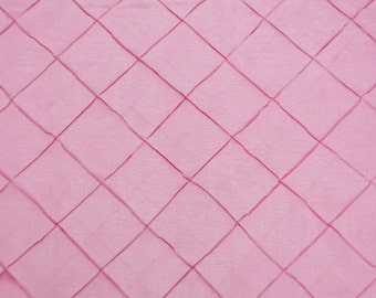 "Pink Pintuck Diamond Taffeta 4"" fabric per yard 55"" wide"