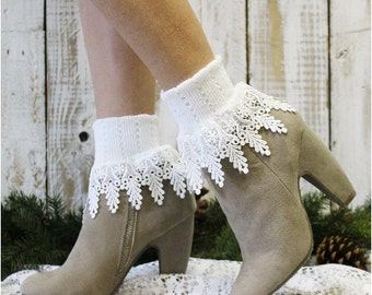 Lace socks,lace socks women, lace cuff sock, short boot sock, lace boot cuff sock SIGNATURE LACE  White Victorian lace, bohemian boho  SLC2
