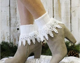Lace socks,lace socks women, lace cuff sock, short boot sock, lace boot cuff sock SIGNATURE LACE  White Victorian lace, bohemian boho  SLC2