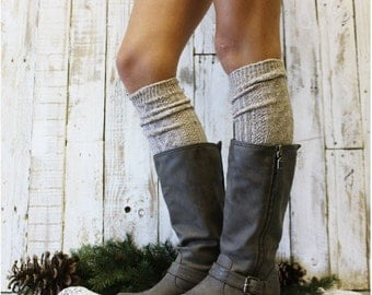 ALPINE ADORE Oatmeal Boot socks tall boot socks knit boot socks womens socks tweed socks leg warmers tall socks Catherine Cole Studio BKS0
