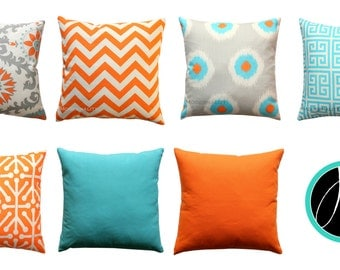 Orange Toss Pillows, Mandarin Orange Pillow Cover, Decorative Throw Pillows, All Sizes, Zippered Pillow, Bright Cushion Cover, Pillow Case