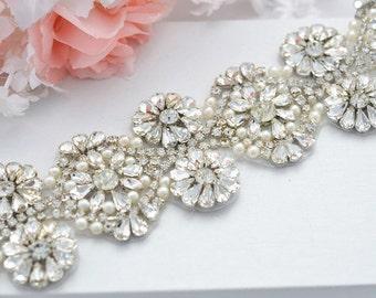 SALE HEIDI wedding bridal crystal pearl sash belt