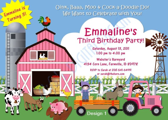 Farm Birthday Invitation in Pink 2 Designs Photo Option Customizable Printable