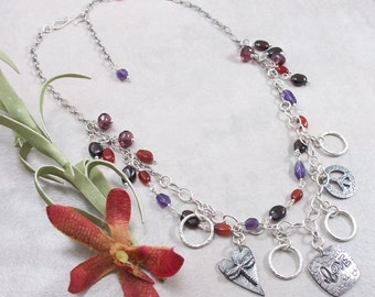 Amethyst, Carnelian, Garnet, Czech Glass Sterling Silver Necklace with PMC Metal Clay Charms