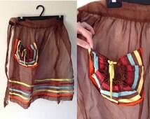 Brown Vintage Apron w Pocket / Sheer Mutliple Color Vintage Apron / Skirt Apron / Blue, Yellow, Orange Accents  / Gift for Her