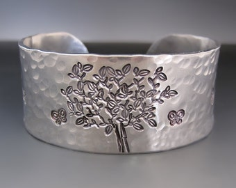 The Giving Tree Silver Cuff Bracelet / Shel Silverstein / Sit Down and Rest / Hand Stamped Cuff / Mother's Day Gift / Gifts for Her