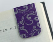 Laminated Magnetic Bookmark Purple Silver Glitter Scroll Elegant Sparkle Teacher Gift Christmas Valentines Student College
