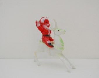 Kitsch Santa on reindeer, Vintage hard plastic red Santa on green reindeer figure or ornament, Christmas decor
