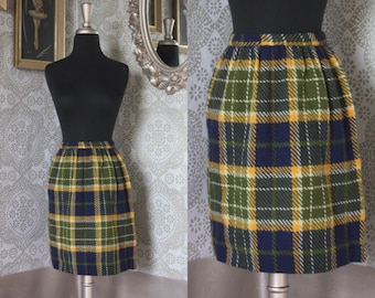 Vintage 1960's Blue Green and Yellow Plaid Wool Mod Mini Skirt XS