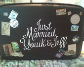 Custom Just Married Suitcase Card Holder