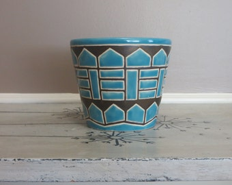 Planter Pottery Planter Blue and Brown Modern Planter Plant Pot Ceramic Pot Ceramic Planter