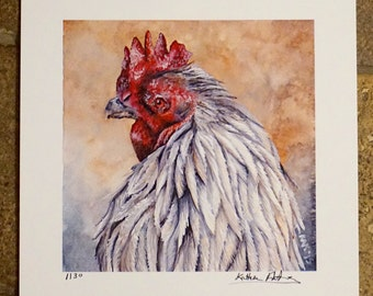 Limited Edition Print of Chicken/Rooster Watercolor Painting