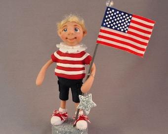 All-American Patriotic Boy Polymer Clay Figurine