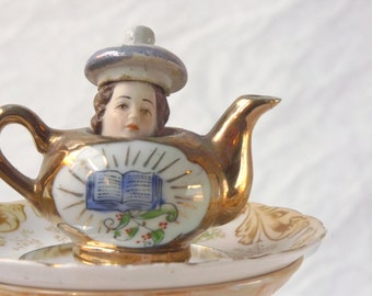 Teapot mini sculpture china assemblage with mirror saucer